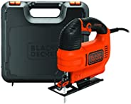Black+Decker 520W Variable Speed Compact Jigsaw with Blade in Kit Box for Wood Cutting, Orange/Black - KS701EK