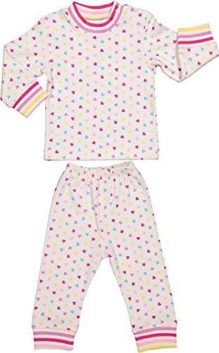 Baby Zweiteiliger Schlafanzug 3-12 Monate 100% Baumwolle Jungen Mädchen Pyjamas Set Langarm Nachtwäsche (Rosa Herze, 6-9 Monate) Rosa Pyjama Set