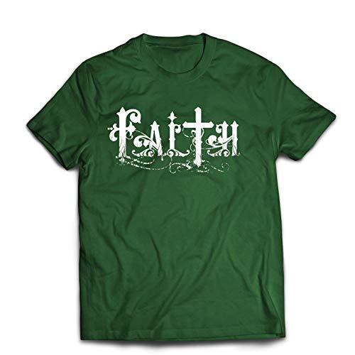 lepni.me Männer T-Shirt Christlicher Glaube Jesus Christus Cross Religiöse Geschenkideen (Large Dunkelgrün Mehrfarben) (Happy Christus Jesus Birthday)