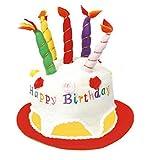O23357 weiß-bunt Damen Herren Happy Birthday Hut mit Kerzen