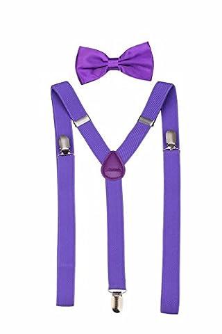 Men's Classic Solid Suspenders Matching Bow Tie Set Braces (Purple)