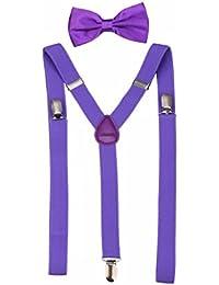 Men's Classic Solid Suspenders Matching Bow Tie Set Braces