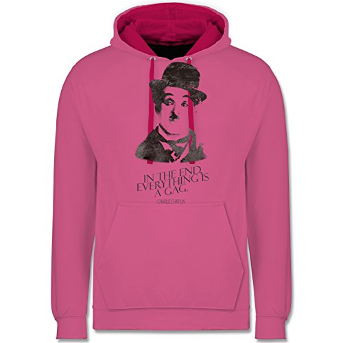 Vintage - Charlie Chaplin - in the end, everything is a gag - Kontrast Hoodie Rosa/Fuchsia