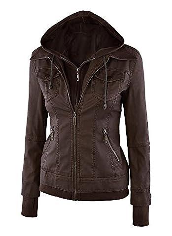 Minetom Femme Mode Court Veste Faux Cuir Blousons Fermeture Éclair Motard Hooded Tops Manteau à Capuche Blazer Café FR 38