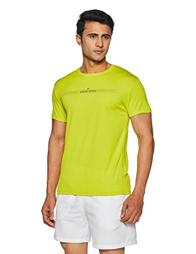 Peter England Perform Men's Plain Round Neck T-Shirt (CKC318005651_Medium Yellow Solid_Large)