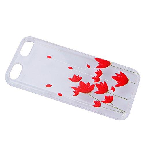 Coque ipod Touch 6 Flexible Souple Case,ipod Touch 5 Housse Étui Transparente,Ekakashop Ultra Mince Coque de Protection en Soft TPU Silicone avec Motif Dentelle Diagonal Protecteur Back Flexible Gel C Lotus Rouge