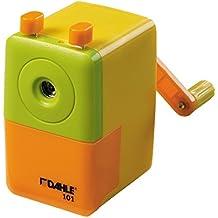 Dahle - Sacapuntas de escritorio (con manivela, lápices hasta 8 mm, incluye fijación para mesa), color amarillo y naranja