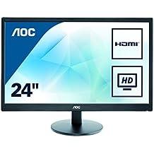 """AOC Monitores E2470SWHE - Monitor de 23.6"""" (resolución 1920 x 1080 pixels, tecnología WLED, contraste 1000:1, 5 ms, HDMI), color negro"""