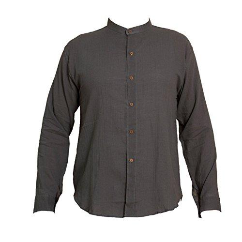 Shirt, K', 6button, grey, M, longsleeve (Männer Bio-kleidung)