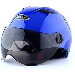 Azul Moto Casco Hombre y Mujer batería Coche Cuatro Estaciones antivaho Doble Espejo Medio Casco Verano e Invierno cálido Cobertura Total Seguridad