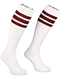 Skater Socks 25Inch Tube calcetines calcetines Oldschool Sport y blanco a rayas