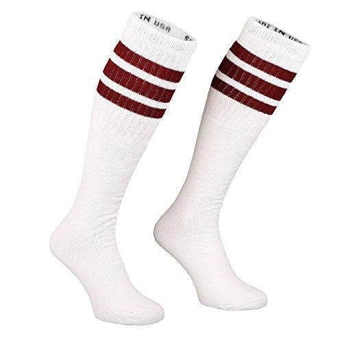 Skatersocks 25 Inch Tube Socken Kniestrümpfe oldschool Sportsocken weiß Streifen (Old-school-tube-socken)