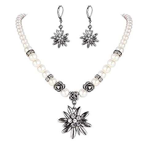 Clearine Women's Bohemian Boho Crystal Ivory Color Simulated Pearl Flower Strand Necklace Leverback Earrings Set Clear Antique-Silver-Tone