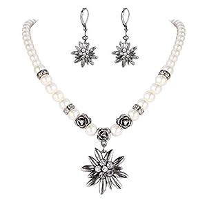 Clearine Damen Oktoberfest Trachtenscmuck Künstliche Perlen Kristall Edelweiss Ohrhänger Dirndlkette Schmuck Set