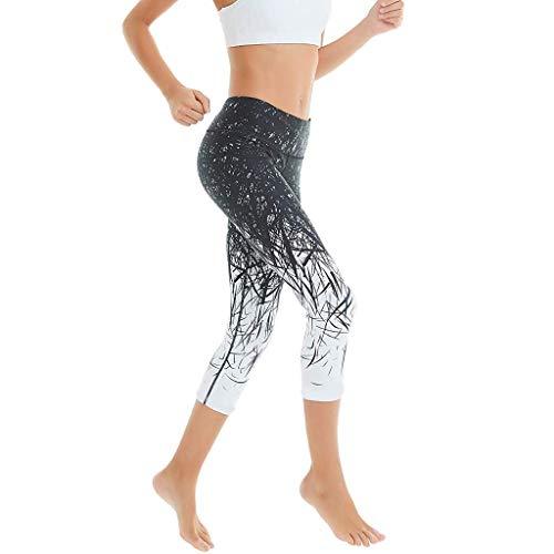 KIMODO® Damen Hohe Taille Drucken Hose Sieben Punkte-Yoga Laufende Jogging Sporthosen Fitness Skinny Freizeithose - Funky-capri-hosen