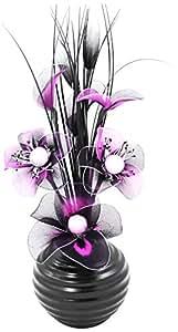 Artificial Flower - Set di fiori artificiali in nylon con vaso in ceramica, 32 cm, colore: Viola/nero