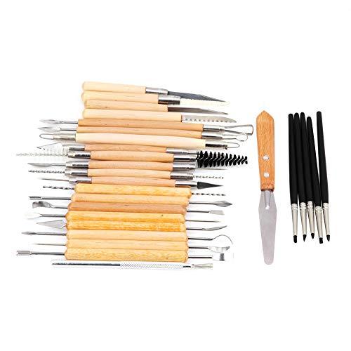 Ton-Skulptur-Werkzeuge, 27 Stück Ton-Sculpting-Shaper Flexible Silikonkautschuk-Spitze, die Stift formt, wischen Malerei Pinsel ab Schnitzwerkzeuge für Keramik-Keramik