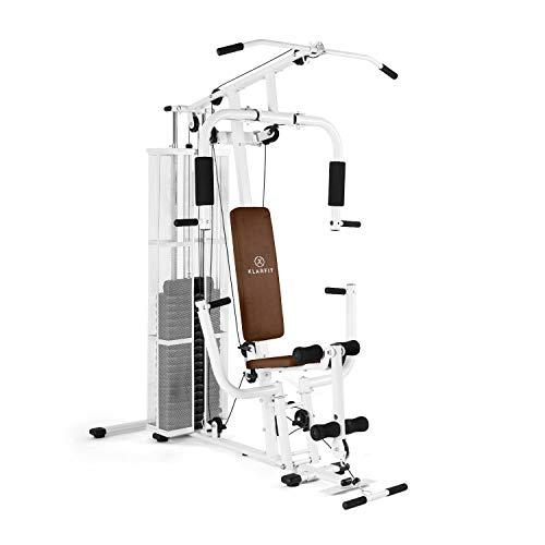 Klarfit Ultimate Gym 3000 Kraftstation • Fitnessstation • Trainingsstation • 30 unterschiedliche Übungen • Ganzkörpertraining • leichtläufige Seilzüge • Beinstrecker & -beuger • weiß