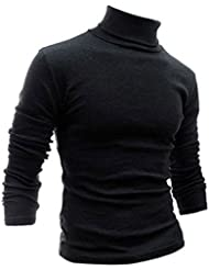Gleader Mode Hommes Automne Hiver Col Roule Sweater-Shirt Motif solide Pull Gris Fonce XXL