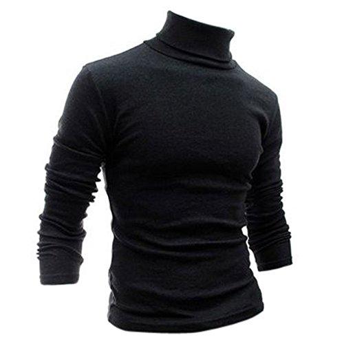SODIAL(R) Moda para Hombre otono invierno de cuello alto sueter camisa patron puro Jersey Gris oscuro -