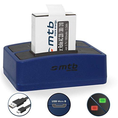 Ersatz-Akku + Dual-Ladegerät (USB) für Rollei Actioncam 220, 300, 300 Plus, 310, 330, 333, 350, 415, 416, 422 (inkl. Micro-USB-Kabel)