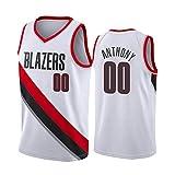 JSSD Basketballtrikot Carmelo Anthony # 00 Portland Trail Blazer, Unisex-Outdoor-Trikot, ärmellose Spielweste aus Polyester aus Fantrikot, weiß schwarz rot S-XXL-White-XL(185cm/85~95kg)