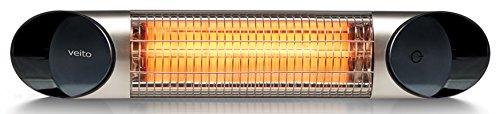 Veito Blade Mini Design infrarot Heizstrahler 1200 Watt Elektrisch, 4 Heizstufen mit Fernbedienung, IP55, Babystrahler. -
