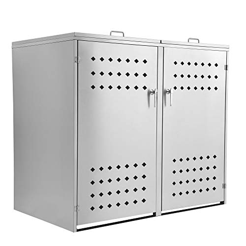 Zelsius Edelstahl Mülltonnenbox Squares für 2 Mülltonnen je 120 und/oder 240 Liter, Mülltonnenverkleidung mit 2 Klappdeckel, Metall Müllbox, abschließbar