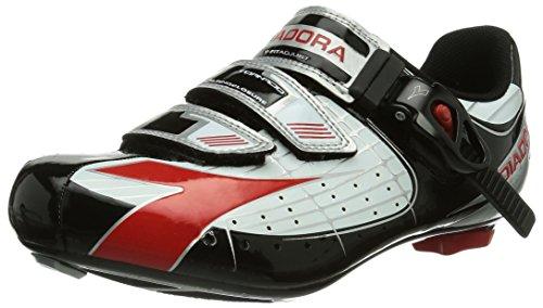 Diadora TORNADO Unisex-Erwachsene Radsportschuhe - Rennrad Schwarz (weiß/schwarz/rot 1470)