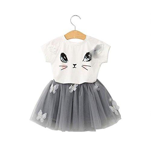 Chanjywe Bambini Bimbo Bambine Tutu Skirt Set Camicetta Elegante con Stampa Cat Camicia Ragazza Estate Camicetta Maglietta Gonna Corta Set Abiti Abiti Maglietta Shorts 2-7 Anni