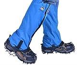 Outdoor Wasserdichte Gamaschen + Steigeisen mit 12 Zähne Schneekette Set für Skifahren, Snowboarden Wandern, Klettern, Schneewandern Bergsteigen Jagd