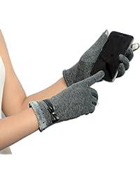 Ularma Moda Mujeres Touch pantalla invierno caliente muñeca guantes mitones