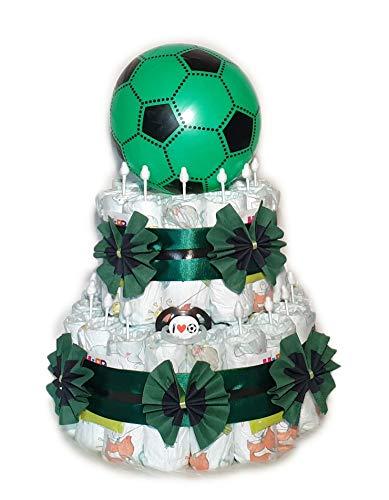 Tarta de pañales, diseño de fútbol, color negro y verde