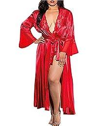 0f9aaa2e50e6 Bata para Mujer,Venmo Mujer Sexy Larga de Seda Kimono Bata Babydoll Encaje  lencería baño