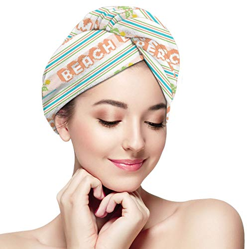 Funny Club Hair Drying Towel Jacquard Stripes Pixel Double Knit Retro Groovy for Women Shower Turban Microfiber Quick Magic Drying Wrapped Bath Cap -