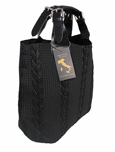 Leatherworld Leder Schultertasche XL / Shopper LT013 Cognac Schwarz