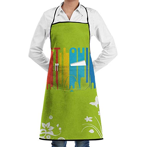 Unisex Kitchen Long Aprons Vintage St. Louis Missouri Skyline Food Sleeveless Overalls Portable Pocket Design