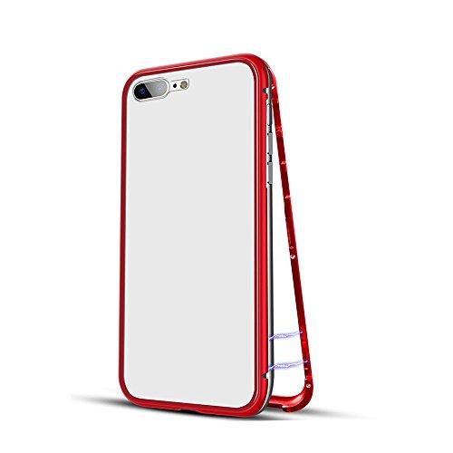 QINPIN Für iPhone 7/8/7Plus/8Plus/6/6s/6Plus/6sPlus/X Magnetische Adsorption Metallhülle + Gratis gehärtetes Glas