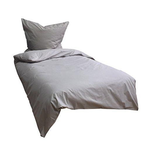 Leonado Vicenti 4 Teilige Bettwäsche 135x200 cm Baumwolle Renforce Uni Einfarbig Hell Grau Doppelpack mit Reißverschluss