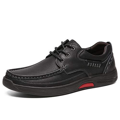 HILOTU Klassisches Design Herrenmode Sneaker Flacher Absatz Weiche Echtleder Oxfords für Formelle Arbeitsschuhe (Color : Black with lace, Größe : 40 EU) Lace Oxford Cap