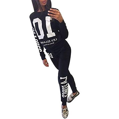 Xinantime Digital Long Sleeve Tracksuit Sport Suits Set (M, Black)