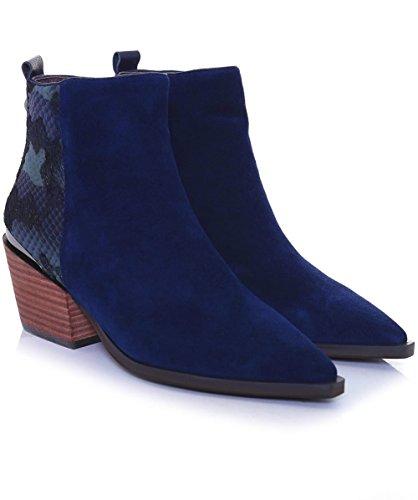 Alma en Pena Damen Wildleder Schlange Effekt Stiefel Blau Blau