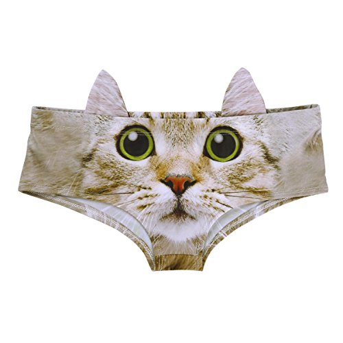 Tweens Kostüm Für Tier - YiZYiF Damen 3D Digital Tierdruck Slips mit Ohren Taillenumfang Hipster Unterwäsche Hunden/Katzen Bikinislips Panties Stil A One Size