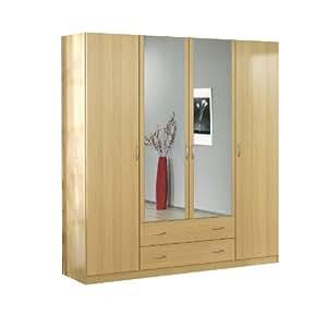 rauch kleiderschrank case 4 t rig dekor buche hell ohne aufsatz dekor buche hell b h t ca. Black Bedroom Furniture Sets. Home Design Ideas