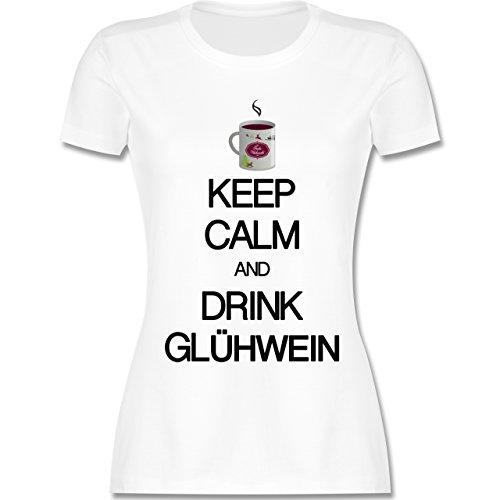 Keep calm - Keep calm and drink Glühwein - tailliertes Premium T-Shirt mit Rundhalsausschnitt für Damen Weiß