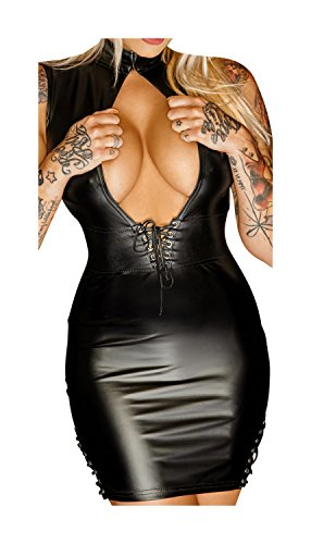 Noir Handmade Damen Minikleid im Wetlook L-40