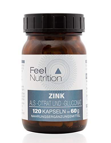 Zink Kapseln hochdosiert als Zinkcitrat und Zinkgluconat - IM GLAS, OHNE WEICHMACHER - Pro Kapsel 10 mg ELEMENTARES Zink - OHNE Magnesiumstearat - Optimale Bioverfügbarkeit - 120 Kapseln