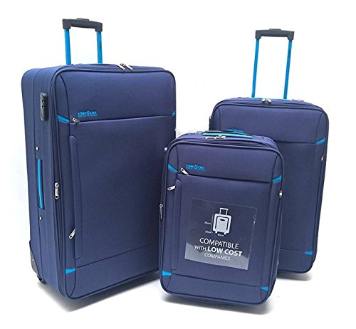 Set 3 trolley tre valigie bagaglio a mano idoneo resistente semirigido easyjet ryanair (blu)