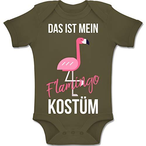 Shirtracer Karneval und Fasching Baby - Das ist Mein Flamingo Kostüm - 6-12 Monate - Olivgrün - BZ10 - Baby Body Kurzarm Jungen ()