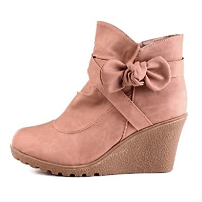Damen Schuhe, STIEFELETTEN, ANKLE BOOTS KEIL WEDGES, MC4783, Synthetik in hochwertiger Leder Optik, Beige, Gr 37